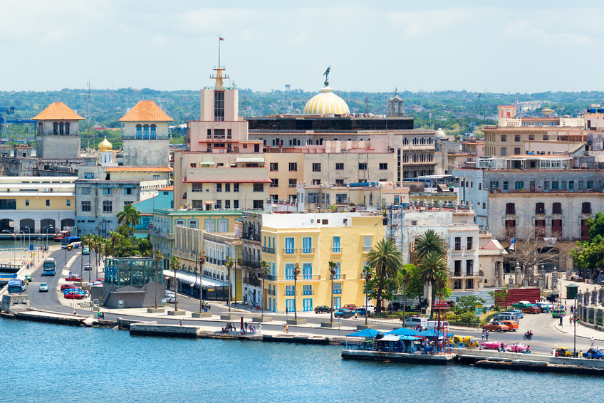 View of Old Havana with beautiful old buildings along the bay